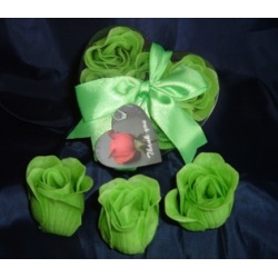 Scented Rose Shaped Soaps in Heart Box - Lime Green (Set of 12) with Satin Ribbon & Thank You Card - Wedding Favors- Shower - Gifts - Wedding / Party Favors