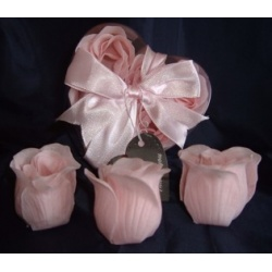 Scented Rose Shaped Soaps in Heart Box - Pink (Set of 12) with Satin Ribbon & Thank You Card - Wedding Favors- Shower - Gifts - Wedding / Party Favors