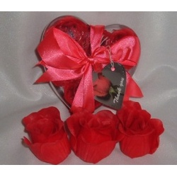 Scented Rose Shaped Soaps in Heart Box - Red (Set of 12) with Satin Ribbon & Thank You Card - Wedding Favors- Shower - Gifts - Wedding / Party Favors