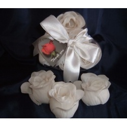 Scented Rose Shaped Soaps in Heart Box - White (Set of 12) with Satin Ribbon & Thank You Card - Wedding Favors- Shower - Gifts - Wedding / Party Favors